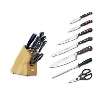 Wusthof Classic 7-piece Knife Block natural coloured beech wood