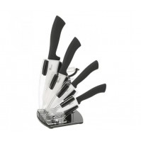 Pradel Excellence Plexi Knife Block with 4 ceramic knives and 1 peeler