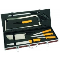 Au Nain Butcher Case with 8 yellow-handled tools and accessories