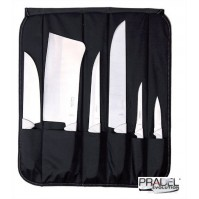 Pradel Evolution Butcher's Knife Bag with 6 white handle knives
