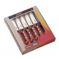 Tramontina 6-piece Steak Knife Set - red polywood handles and serrated blades