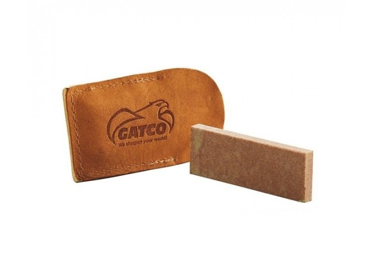 GATCO Soft Arkansas Pocket Sharpening Stone with leather pouch