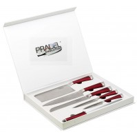 Pradel Evolution 5-piece Knife Set with red handles + 1 sharpening steel