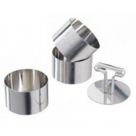 PATISSE Set of 3 Stainless Steel Cake Rings 9cm + tamper