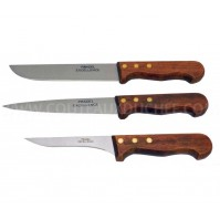 Pradel Excellence Butcher 3-piece Knife Set - wooden handles