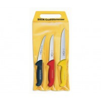DICK Ergogrip 3-piece Butcher Professional Knife Set - multicoloured handles