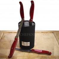 Au Nain Bistronome Universal Block with 4 Steak Knives - red handles