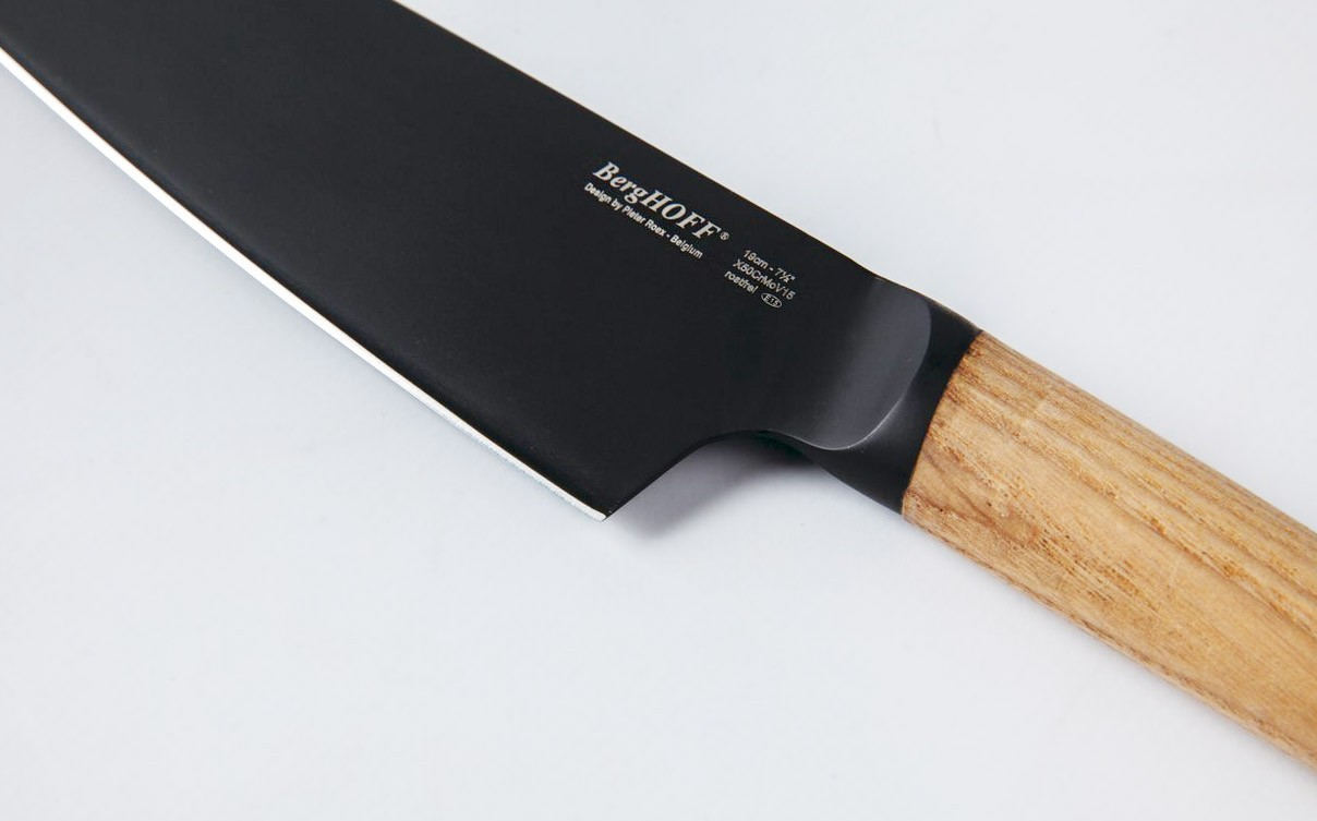 ... BergHOFF Ron Titan Ashwood Chef Knife 19cm   Black Titanium Coating ...