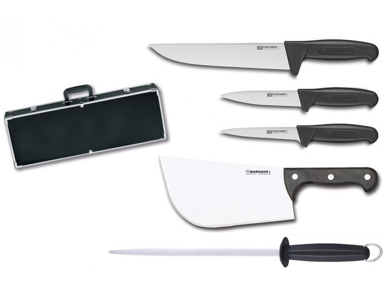 Fischer Professional Butcher Case with 4 knives + 1 sharpening steel