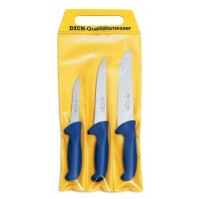 Dick Ergogrip 3-piece Butcher Knife set - blue handles