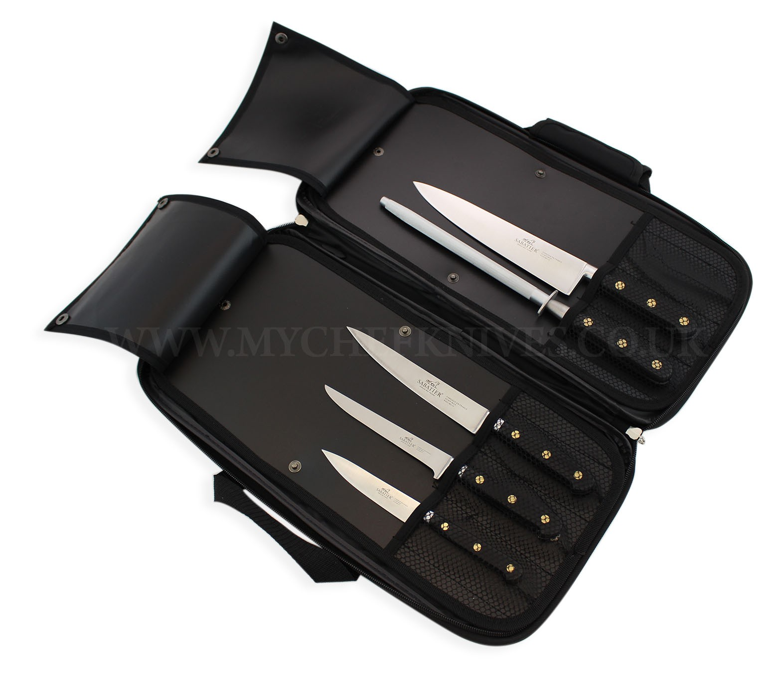 sabatier kitchen knife bag 4 knives 1 honing steel. Black Bedroom Furniture Sets. Home Design Ideas