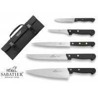 SABATIER 5-piece Kitchen Knife Bag - stainless steel blades and POM handles