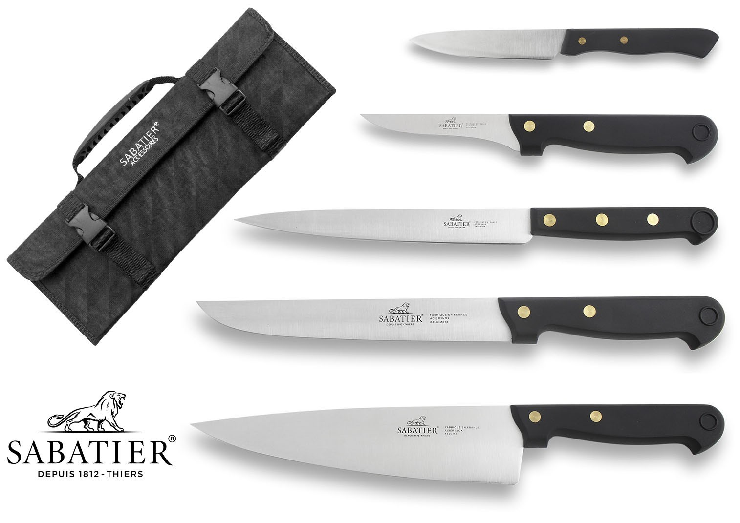 knives sabatier sabatier knife bag with 5 kitchen knives 100 french