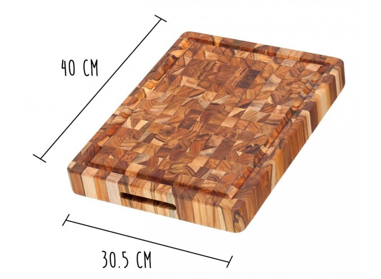 TeakHaus Chopping Block with hand grips 40 x 30cm - made of teak wood