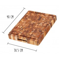 Teak Haus Chopping Block with hand grips 40 x 30.5cm - made of teak wood