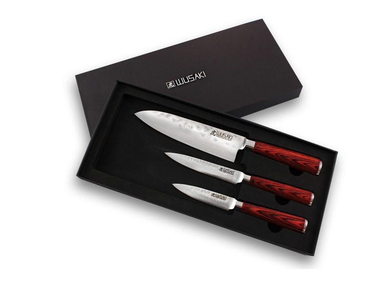 Wusaki Pakka X50 3-piece Knife Set with Santoku + Utility knife+ Paring Knife