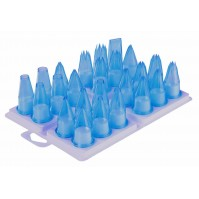 Set of 24 Piping Nozzles made of blue polycarbonate