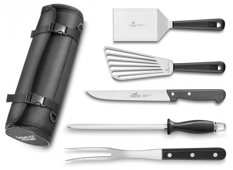 Sabatier and 32 Dumas Special BBQ 5-piece Tool Set with roll bag