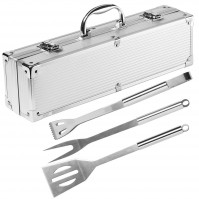 Pradel Excellence 3-piece Barbecue Tool Set with metallic case