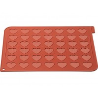 Silicone Macaroon Baking Sheet with 42 heart-shaped holes