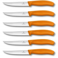 Victorinox SwissClassic 6-piece Serrated Steak Knife Set - orange handles
