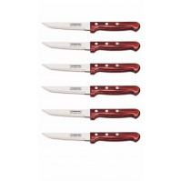 Tramontina Set of 6 Steak Knives with red polywood handles