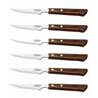 Tramontina 6-piece Steak Knife Set - brown handles and serrated blades