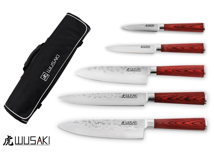 Wusaki Pakka X50 Set with 5 kitchen knives + 1 roll bag