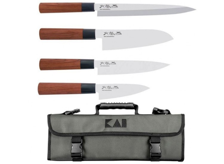 Kai Seki Magoroku Knife Bag with 4 Japanese knives