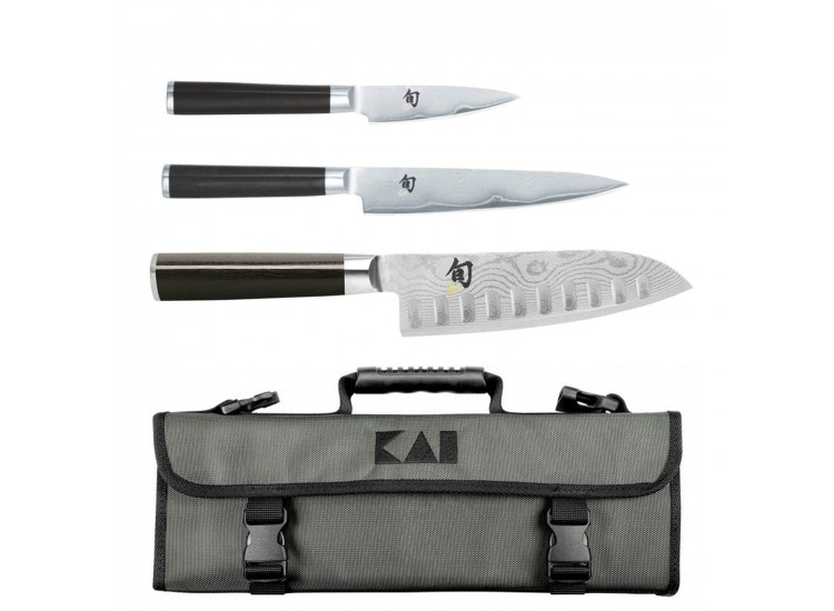 KAI Shun Classic Knife Bag with 3 Japanese Damascus Knives