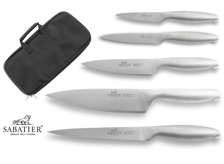 Sabatier Fuso Nitro+ 5-piece Knife Bag Set - stainless steel blades and handles