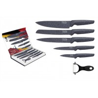 Pradel Evolution 5-piece knife set with grey stone style coating + 1 peeler
