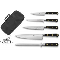 Sabatier Chef Knife Bag with 4 knives and 1 honing steel - stainless steel blades, POM handles