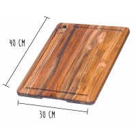 Teakhaus Cutting Board with juice groove 40 x 30cm - made of teak wood