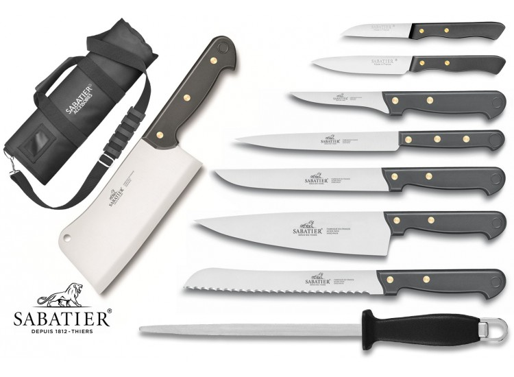 Sabatier 8-piece Knife Set + 1 sharpening steel in a roll bag