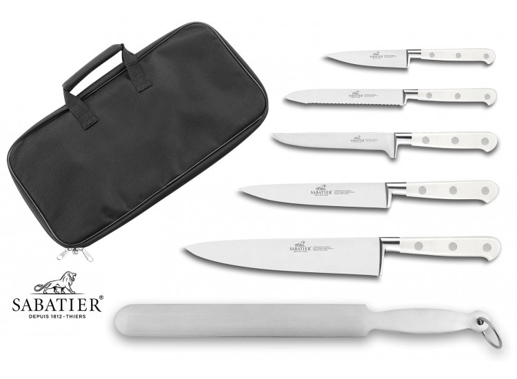 Sabatier Toque Blanche Knife Bag Set with 5 kitchen knives + 1 sharpening steel