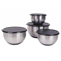 BergHOFF Essentials Set of 4 Stainless Steel Bowls with non-slip base