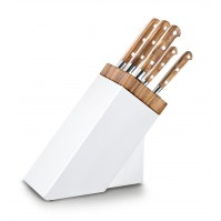 Sabatier Provençao White Knife Block with 5 kitchen knives - olive wood handles