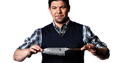 Chef Tim Malzer with a santoku knife