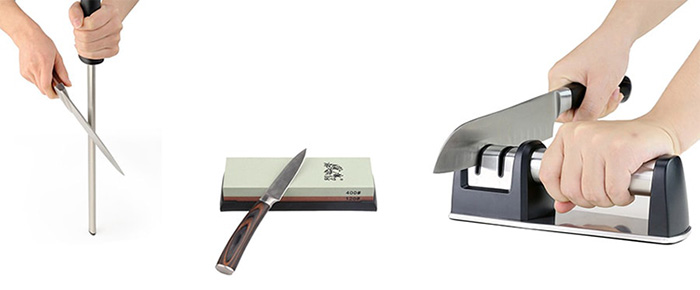 Which accesory should you use to sharpen a knife?